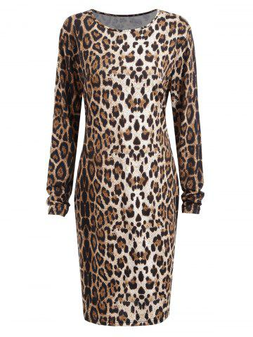 Buy Plus Size Long Sleeve Leopard Printed Bodycon Dress - 2XL YELLOW Mobile