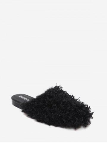 Cheap Flat Heel Furry Slippers BLACK 37