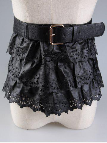 Chic Layered Pin Buckle Cut Out Peplum Belt - BLACK  Mobile