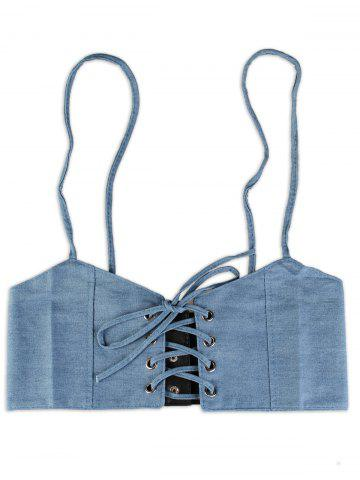 Buy Lace Up Spaghetti Strap High Waisted Belt - DENIM BLUE  Mobile