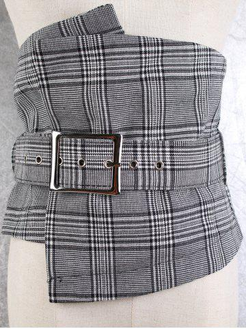 Affordable High Waist Big Pin Buckle Corset Belt - CHECKED  Mobile