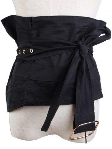 Chic Large Pin Buckle Zip Up Detachable Corset Belt BLACK