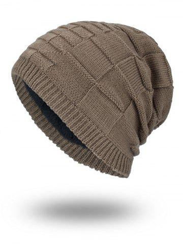 Latest Velvet Stripy Thicken Plaid Knitted Beanie