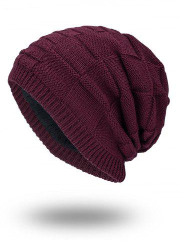 New Velvet Stripy Thicken Plaid Knitted Beanie