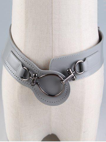 Best Faux Leather Wide Belt with Large Metal Clasp GRAY