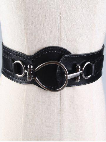 Sale Faux Leather Wide Belt with Large Metal Clasp BLACK