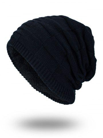 Hot Velvet Stripy Thicken Plaid Knitted Beanie BLACK