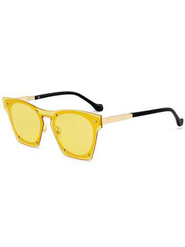 Shop UV Protection Metal Frame Pilot Sunglasses - YELLOW  Mobile