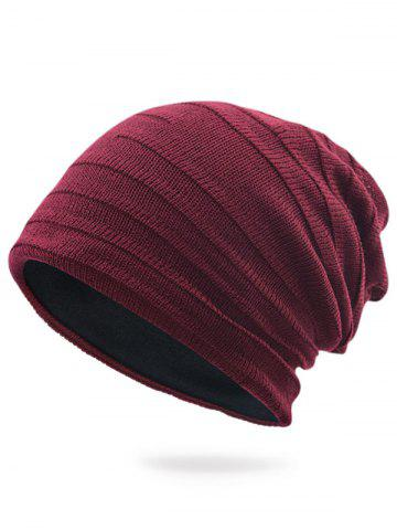 Store Plain Stripy Embellished Knit Hat - WINE RED  Mobile