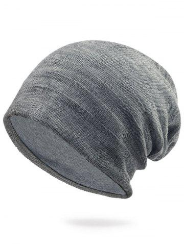 Best Plain Stripy Embellished Knit Hat LIGHT GRAY