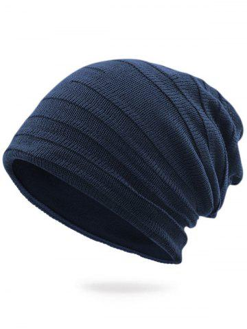 New Plain Stripy Embellished Knit Hat - DEEP BLUE  Mobile