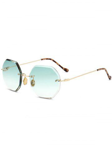 Buy Round Hexagons Ombre Lens Rimless Sunglasses - LIGHT GREEN  Mobile