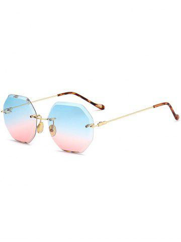 Affordable Round Hexagons Ombre Lens Rimless Sunglasses