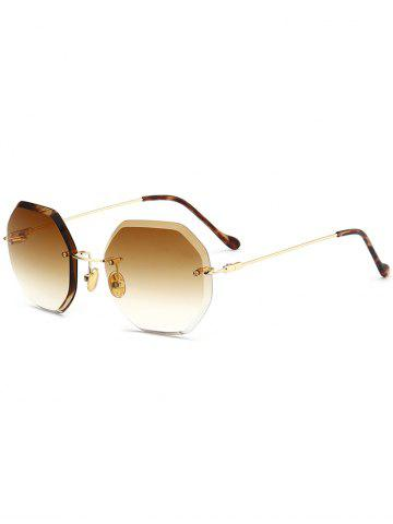 Shops Round Hexagons Ombre Lens Rimless Sunglasses - TEA-COLORED  Mobile