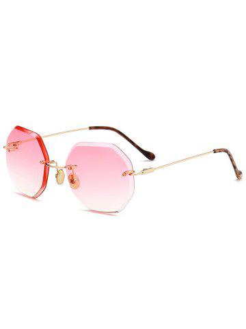 Latest Round Hexagons Ombre Lens Rimless Sunglasses - PAPAYA  Mobile