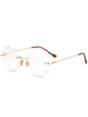 Best Round Hexagons Ombre Lens Rimless Sunglasses TRANSPARENT