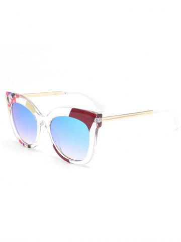 Online Color Pieces Embellished Butterfly Sunglasses - BLUE  Mobile