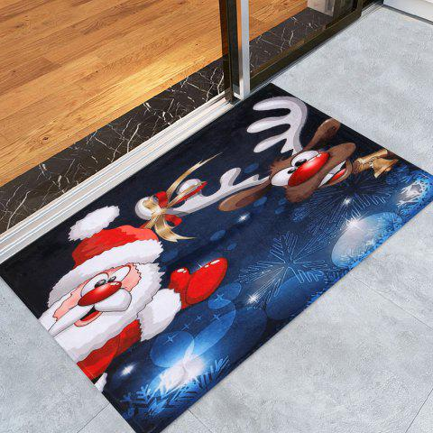 Trendy Santa Claus Christmas Deer Skidproof Area Rug BLUE W24 INCH * L35.5 INCH