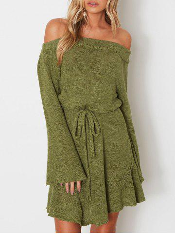 New Off The Shoulder Drawstring Sweater Dress