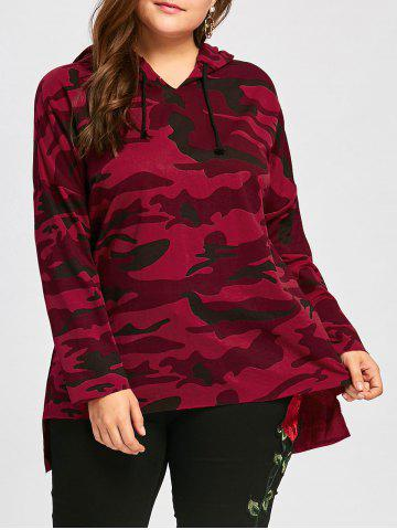 Online Plus Size Long High Low Camo Printed Hoodie RED XL