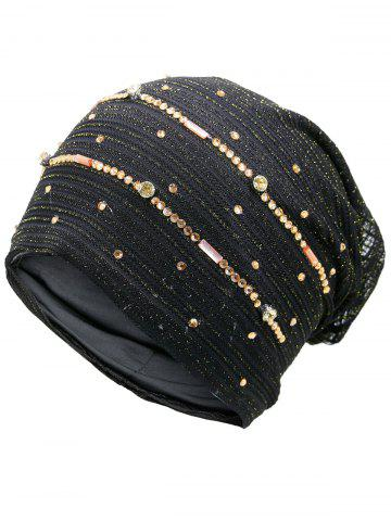 Shop Rhinestones Embellished Lurex Lace Hat BLACK