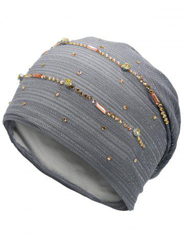 Cheap Rhinestones Embellished Lurex Lace Hat GRAY