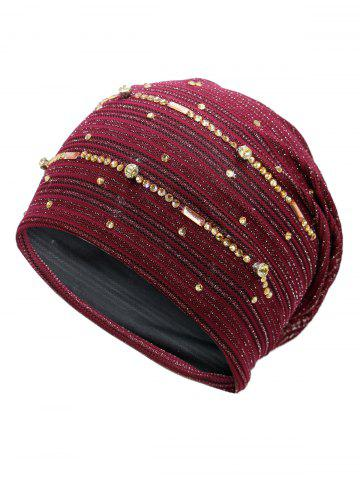 Trendy Rhinestones Embellished Lurex Lace Hat WINE RED