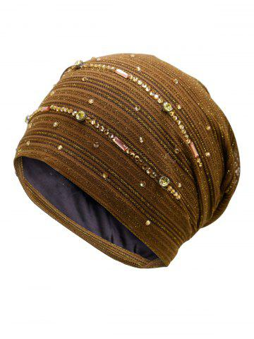 Best Rhinestones Embellished Lurex Lace Hat - COFFEE  Mobile