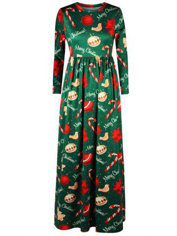 Outfit Merry Christmas Tree Print Floor Length Dress GREEN S