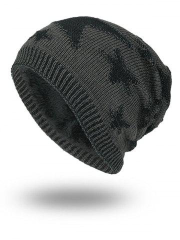 Shops Stars Pattern Flocking Knitted Beanie Hat