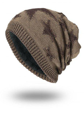 New Stars Pattern Flocking Knitted Beanie Hat KHAKI