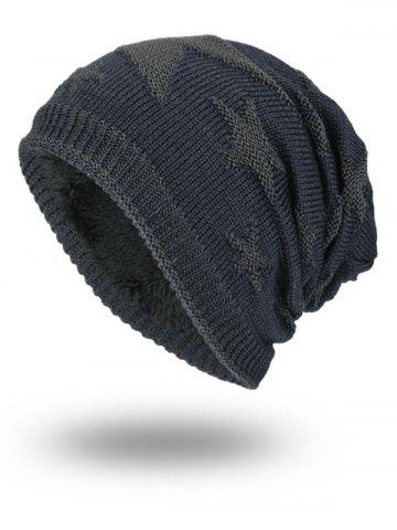 Shop Stars Pattern Flocking Knitted Beanie Hat - STONE BLUE  Mobile