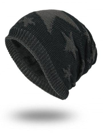 Best Stars Pattern Flocking Knitted Beanie Hat - BLACK  Mobile