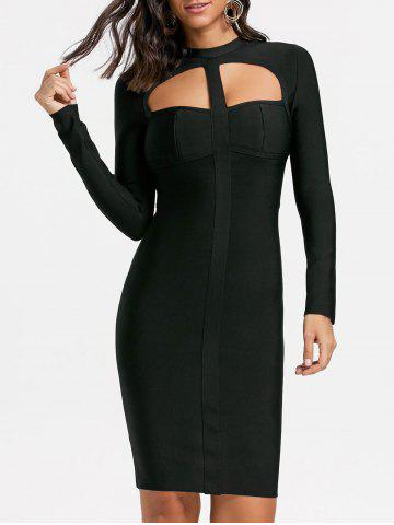 Affordable Club Long Sleeve Cut Out Bandage Dress - M BLACK Mobile