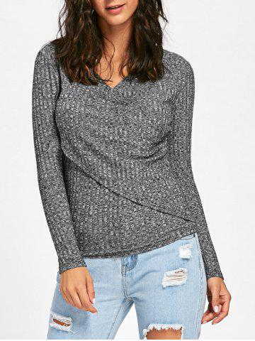 Trendy V-neck Long Sleeve Ribbed Surplice Sweater