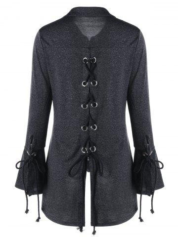 Fancy Flare Sleeve Marled Lace Up Top DARK GREY M