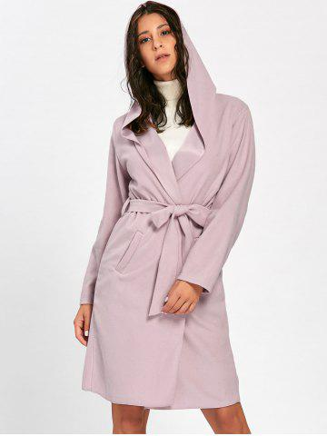 Cheap Open Front Hooded Woolen Coat PINK S