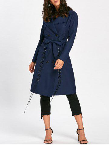 Fancy Lace Up Trench Coat with Tie Belt - 2XL PURPLISH BLUE Mobile