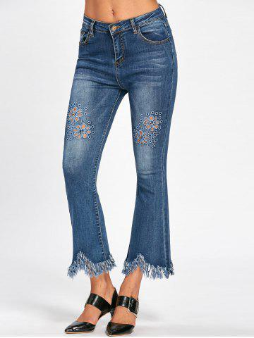 Store Fringe Cat's Whisker Hollow Out Nine Miniutes of Jeans - M BLUE Mobile