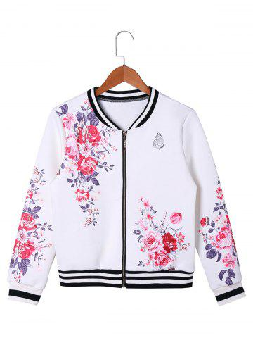 Sale Zip Up Floral Baseball Jacket - L WHITE Mobile