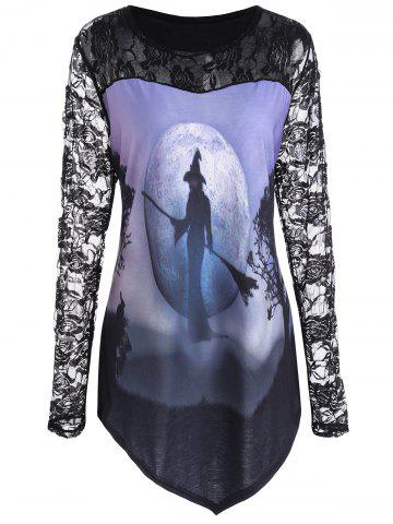 Affordable Plus Size Floral Lace Halloween Witch Asymmetrical Tee - 2XL BLACK Mobile