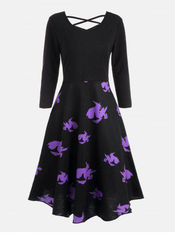 Chic Halloween Witches Print Cross Back Flare Dress BLACK S