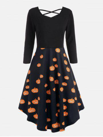 Shop Plus Size Halloween Pumpkins Cats Print Flare Dress - 5XL ORANGE Mobile