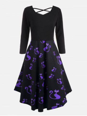 Outfit Plus Size Halloween Pumpkins Cats Print Flare Dress - 3XL BLUE Mobile