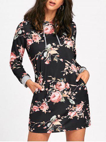 Outfit Long Sleeve Front Pocket Floral Hoodie Dress