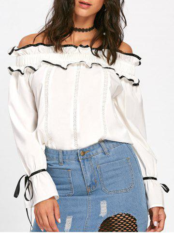 Shops Hollow Out Ruffles Bowknot Off The Shoulder Blouse - L OFF-WHITE Mobile