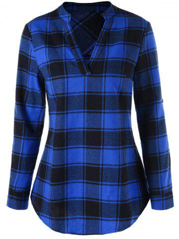 Cheap Split Neck Curved Hem Plaid Blouse