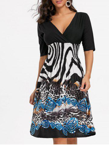V Neck Leopard Print Surplice Dress