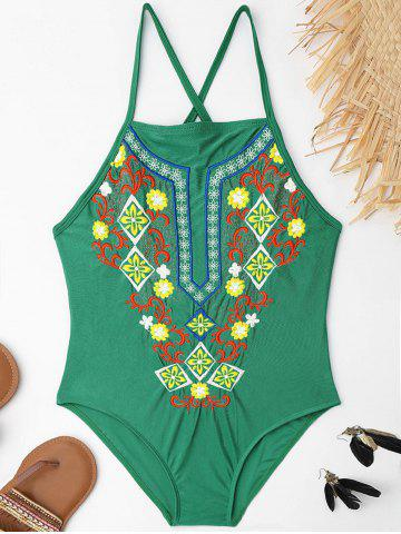 Sale Plus Size Lace Up Embroidered Swimsuit