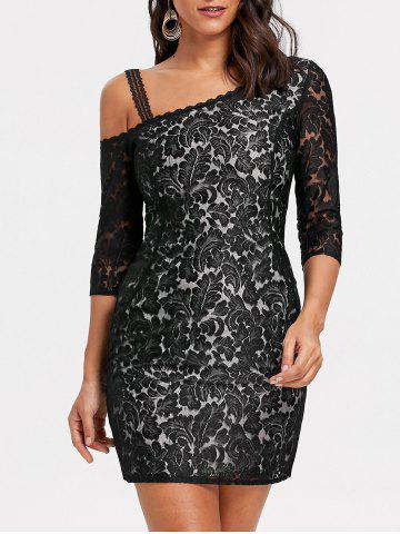 Trendy Floral Lace Skew Neck Mini Dress